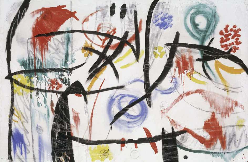 Joan Miró  Untitled, 1968-72 Oil, acrylic, charcoal and chalk on canvas 130,6x195,5 cm  © Successió Miró by SIAE 2017  Archive Fundació Pilar i Joan Miró a Mallorca  Foto: Joan Ramón Bonet & David Bonet