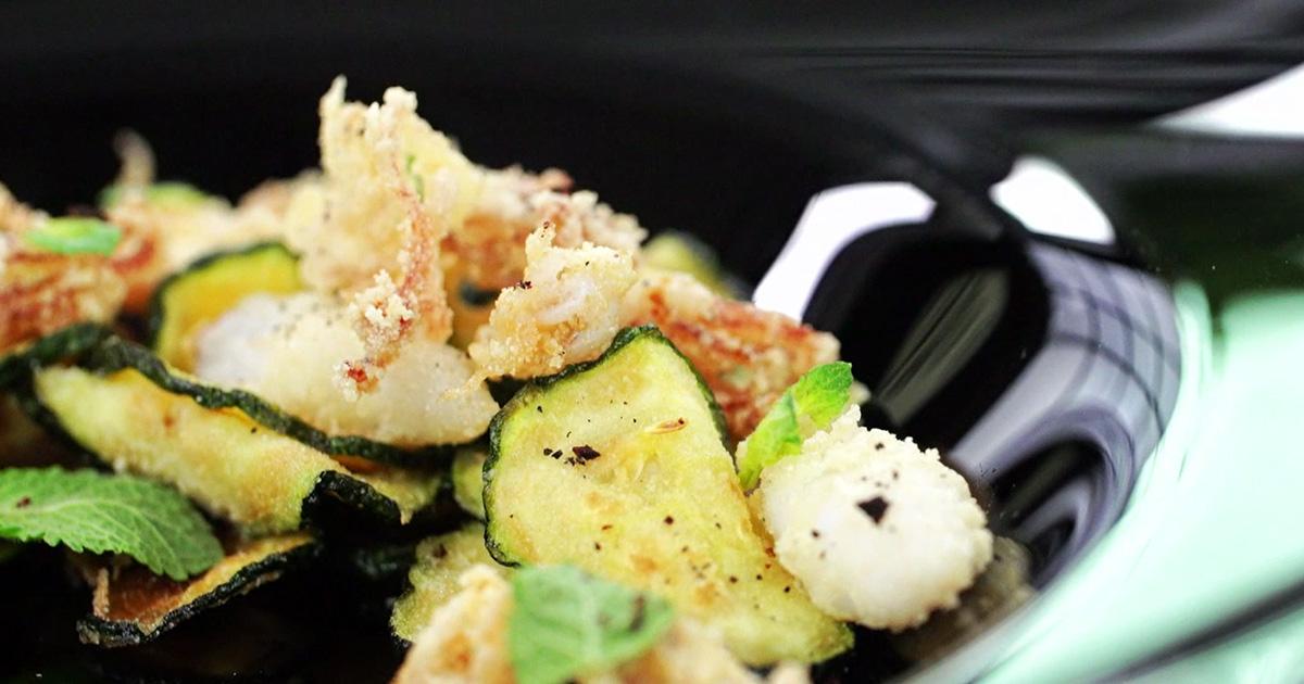 Fritto di calamaretti spillo e zucchine alla scapece - Alessandro Borghese Kitchen Sound Choice