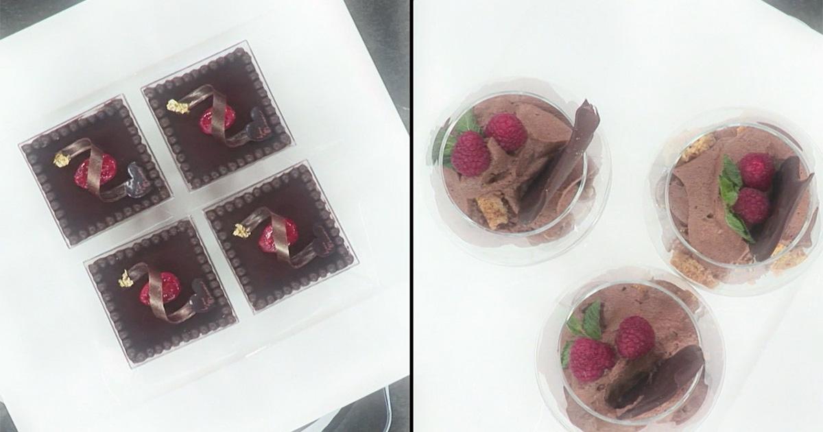 Bicchiere di mousse al cioccolato con sbrisolona e mandorle salate - Iginio Massari The Sweetman