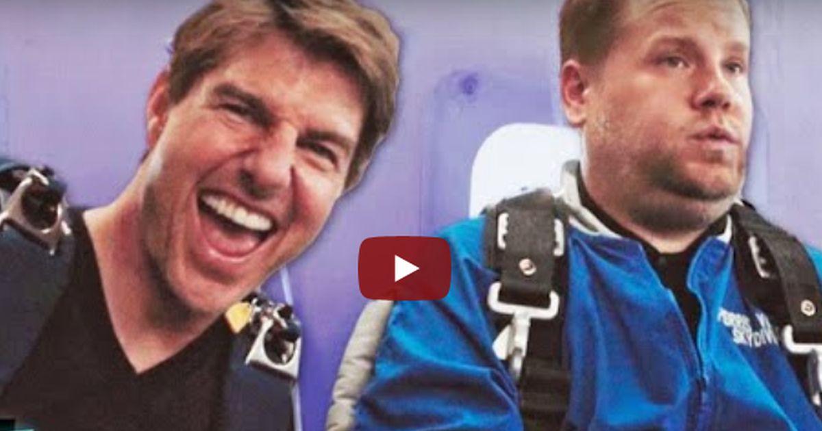Tom Cruise e James Corden, si sono sfidati lanciandosi col paracadute
