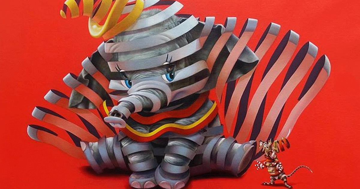 Questo artista ripropone i personaggi dei cartoni insieme agli animali che li hanno ispirati
