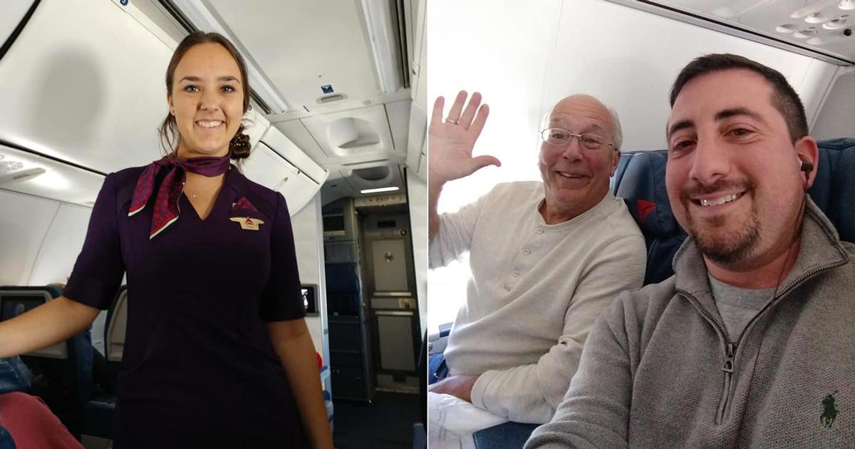 Lavora come hostess il giorno di Natale, il padre prenota i voli e la segue in tutti i suoi viaggi