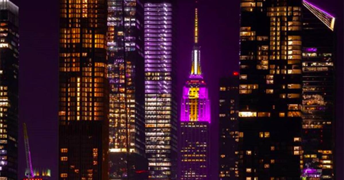 Kobe Bryant: l'Empire State Building s'illumina di giallo e viola in suo onore