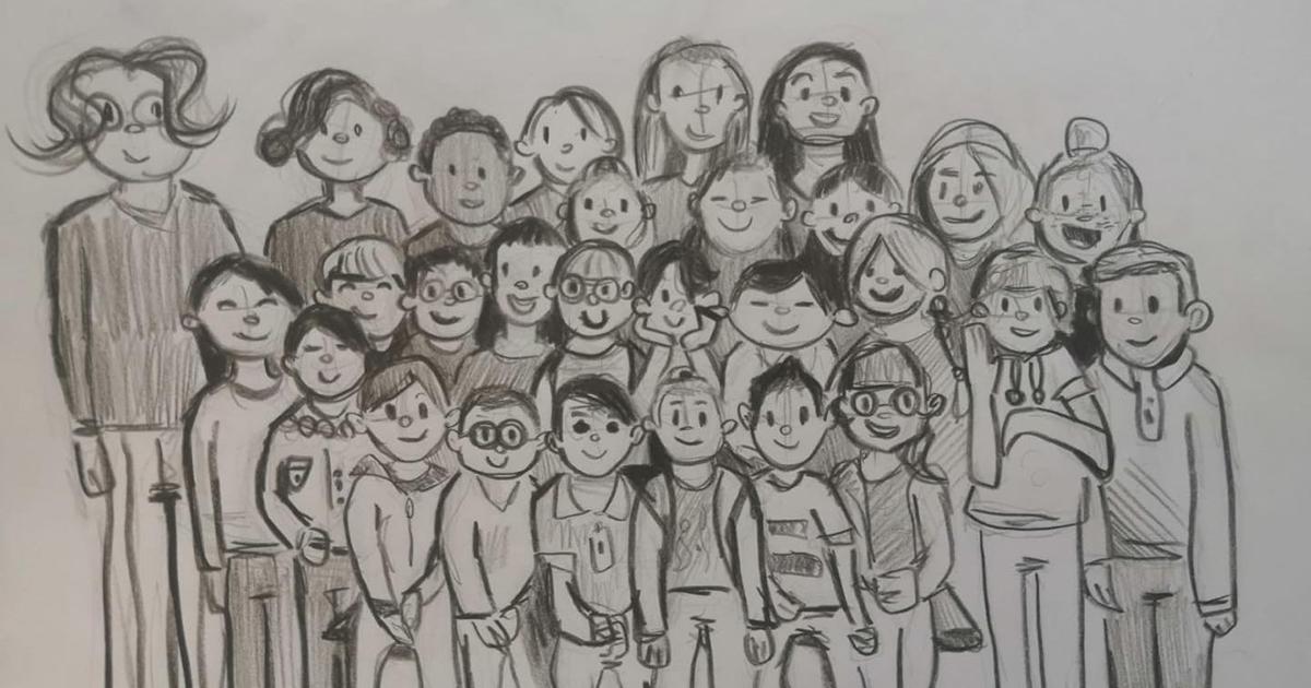 Foto di classe a sorpresa. Il disegno del bambino ritrae tutti e sembra una stampa