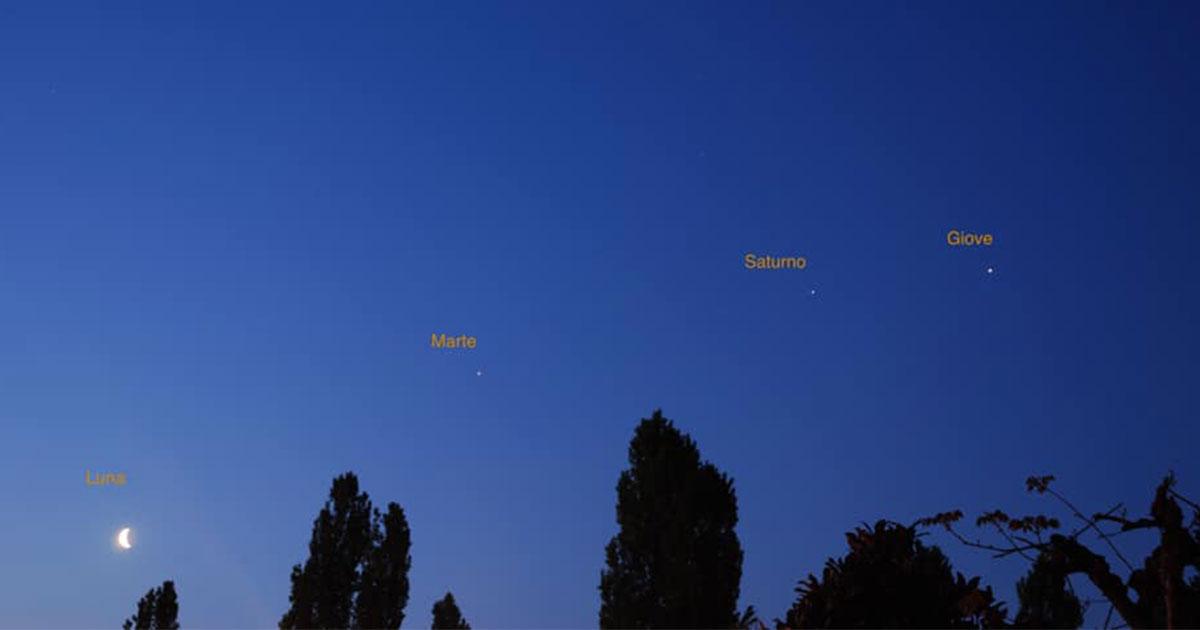La Luna con Marte, Giove e Saturno: da stasera saranno visibili insieme