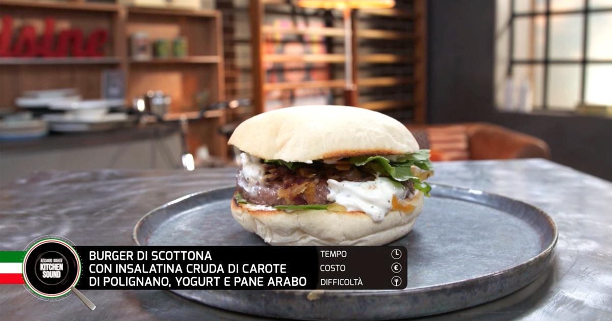 Burger di scottona con insalatina cruda di carote di Polignano, yogurt e pane arabo - Alessandro Borghese Kitchen Sound - Wellness