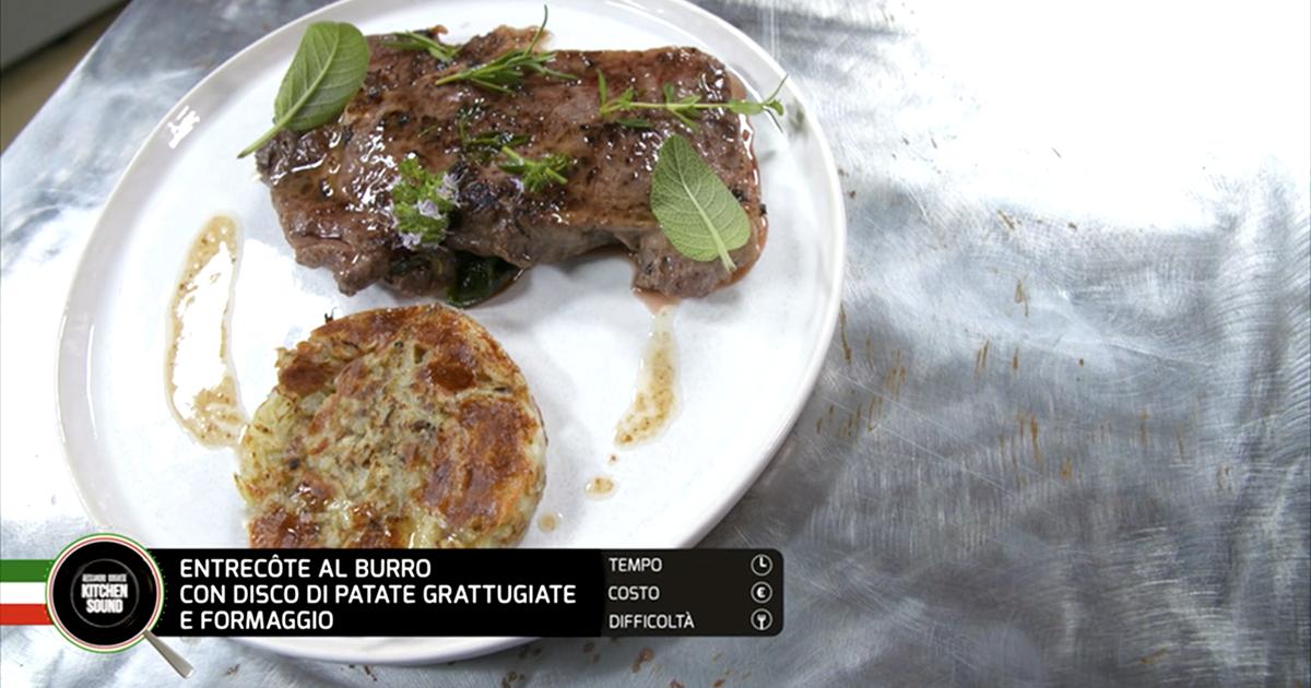 Entrecote al burro con disco di patate grattugiate e formaggio - Alessandro Borghese Kitchen Sound - KIDS