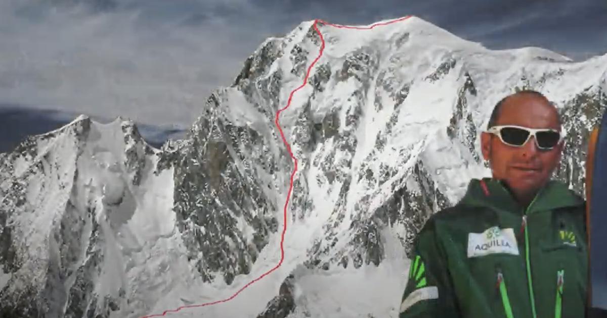 Giù dal muro impossibile con gli sci!