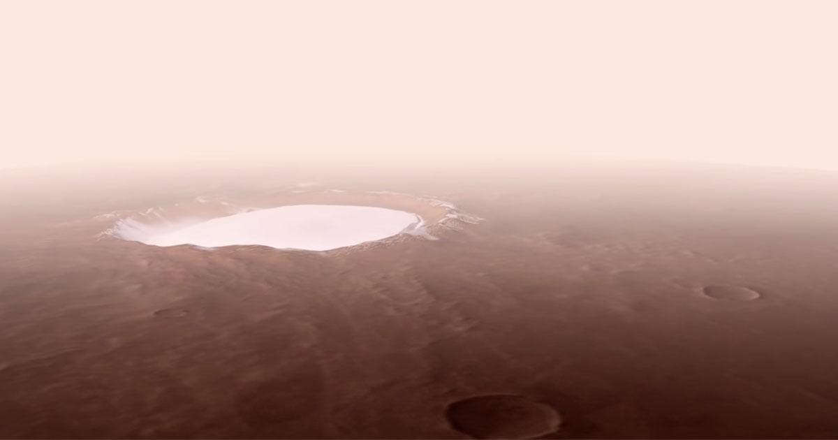 Su Marte c'è un cratere ricoperto di ghiaccio: il sorprendente video dell'ESA