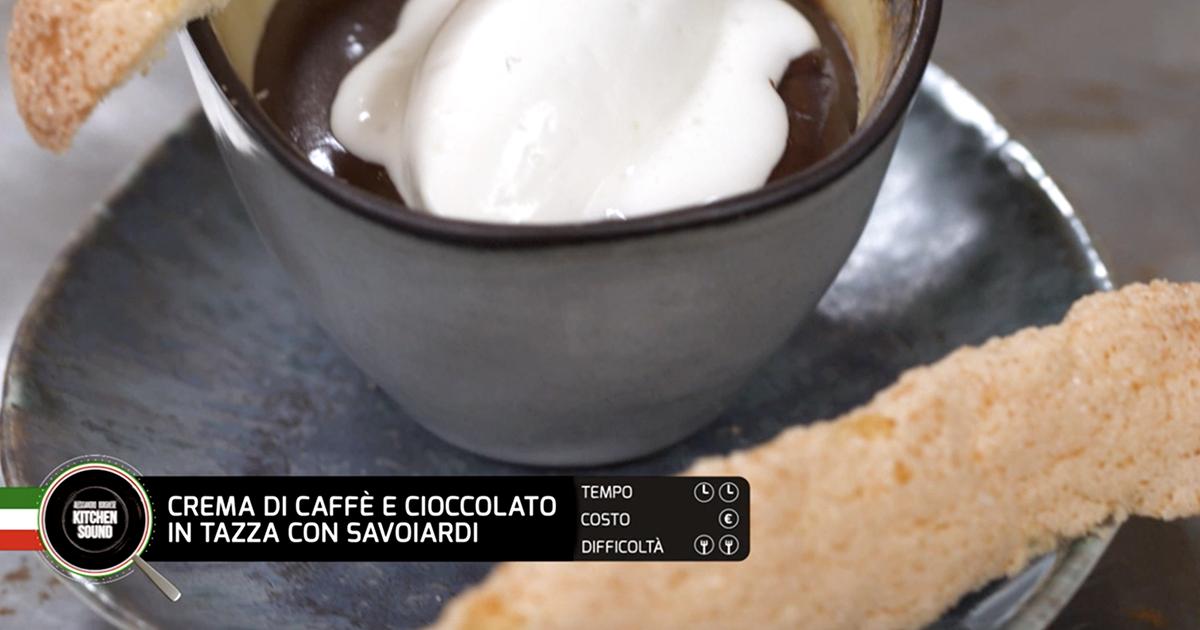 Crema di caffè e cioccolato in tazza con savoiardi - Alessandro Borghese Kitchen Sound - I profumi del forno