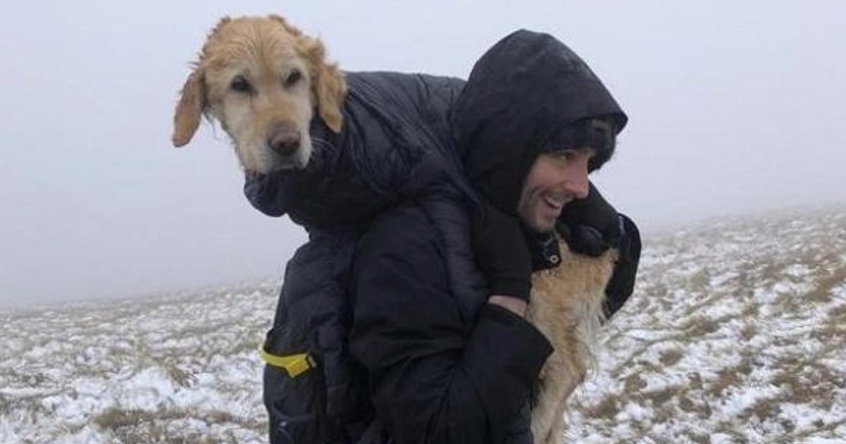10 km con il cane sulle spalle per riportarlo alla sua famiglia