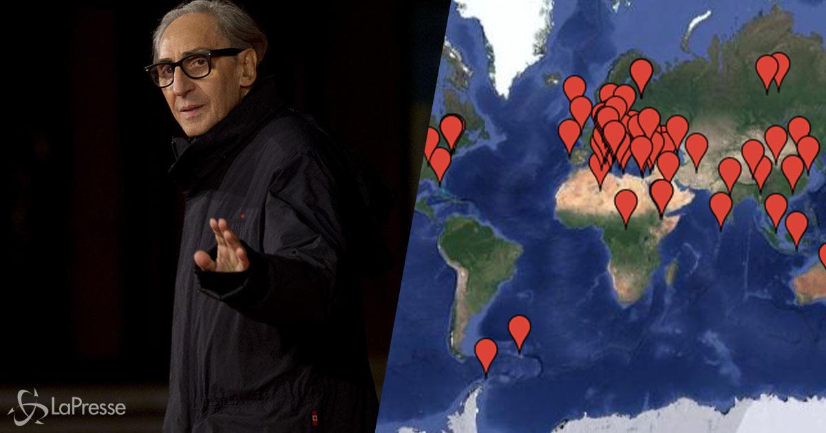 Questa mappa interattiva ci mostra i luoghi cantati da Battiato nelle sue canzoni