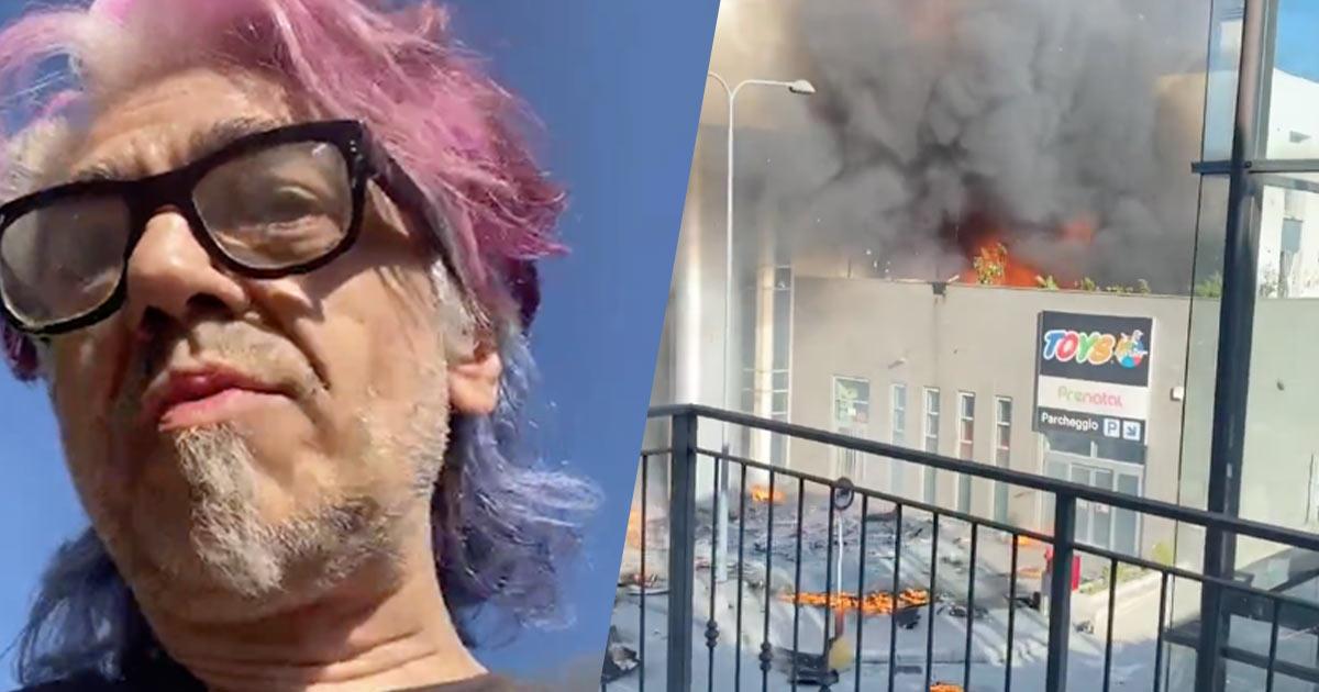 Morgan scappa dal grattacielo di Milano in fiamme: ecco i video