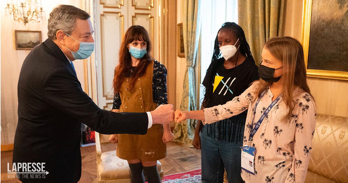 Mario Draghi incontra Greta Thunberg: 'È andata benissimo'