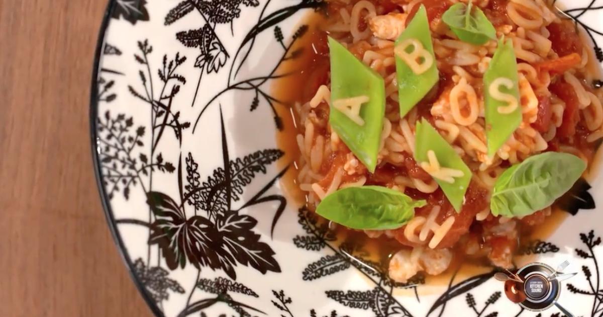 Pastina alfabeto, pomodori, sogliola e fagioli piattoni - Alessandro Borghese Kitchen Sound - KIDS